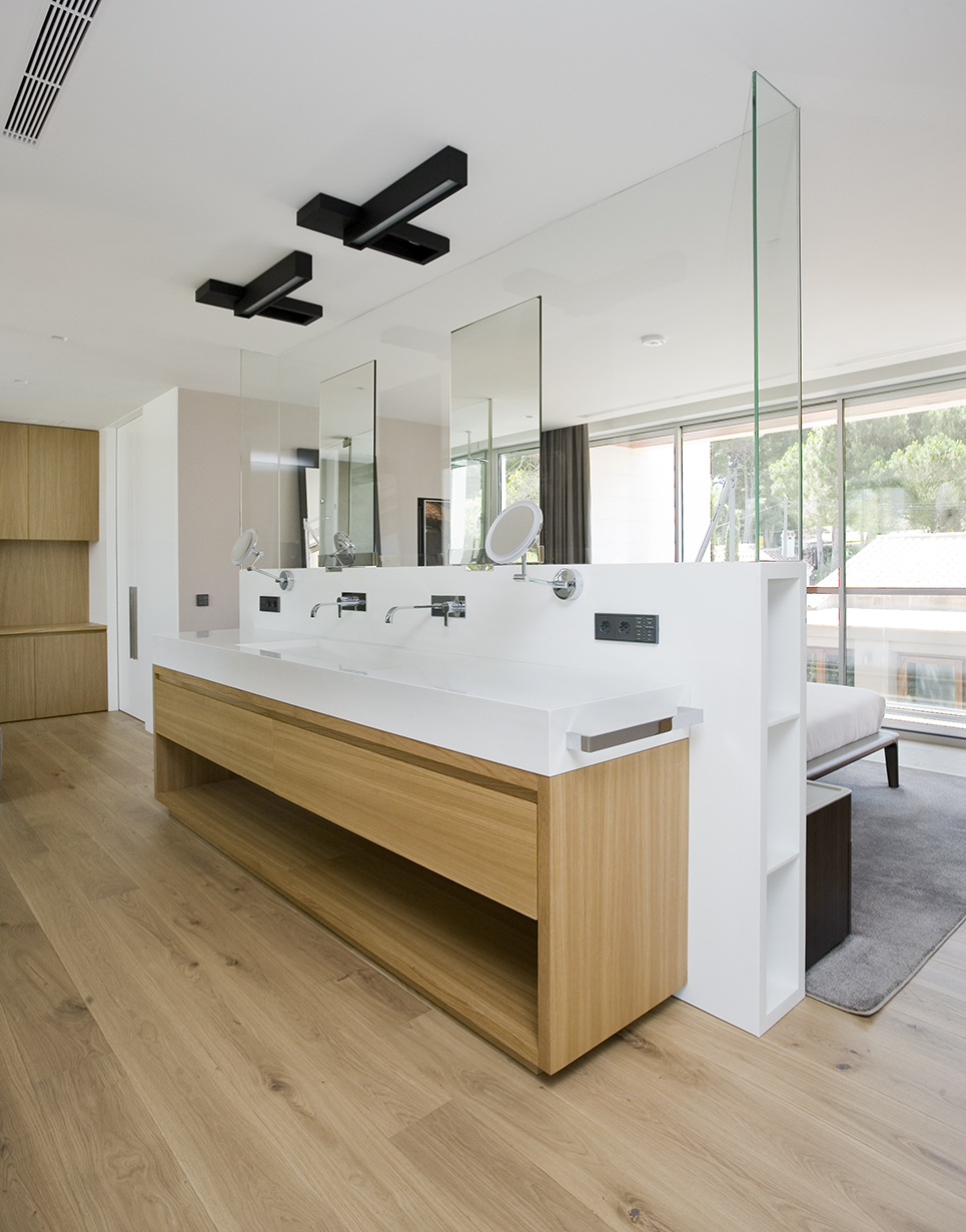 Bathroom and integrated bedroom interiors photography