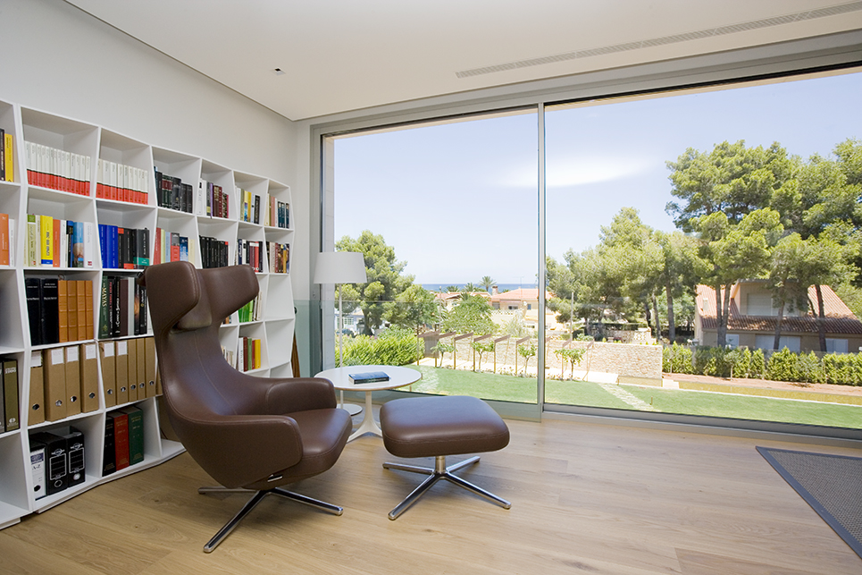Office with mediterranean view interiors photography